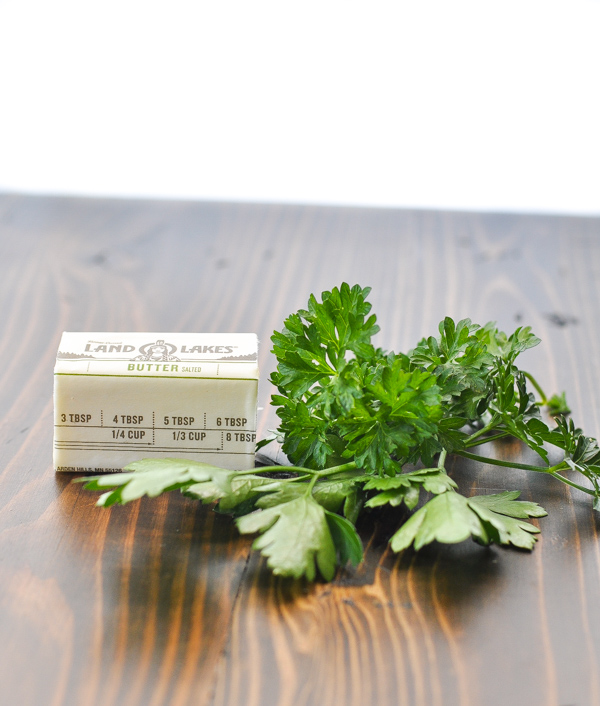 Butter and parsley on a table