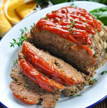 Close up shot of sliced Crock Pot meatloaf