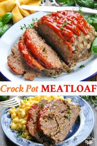 Long collage of Crock Pot Meatloaf