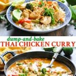 Long collage of Dump and Bake Thai Chicken Curry Recipe