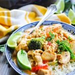 Close up shot of bowl of Thai chicken curry with rice and vegetables