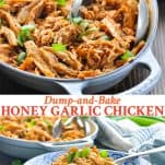 Long collage of Dump and Bake Honey Garlic Chicken
