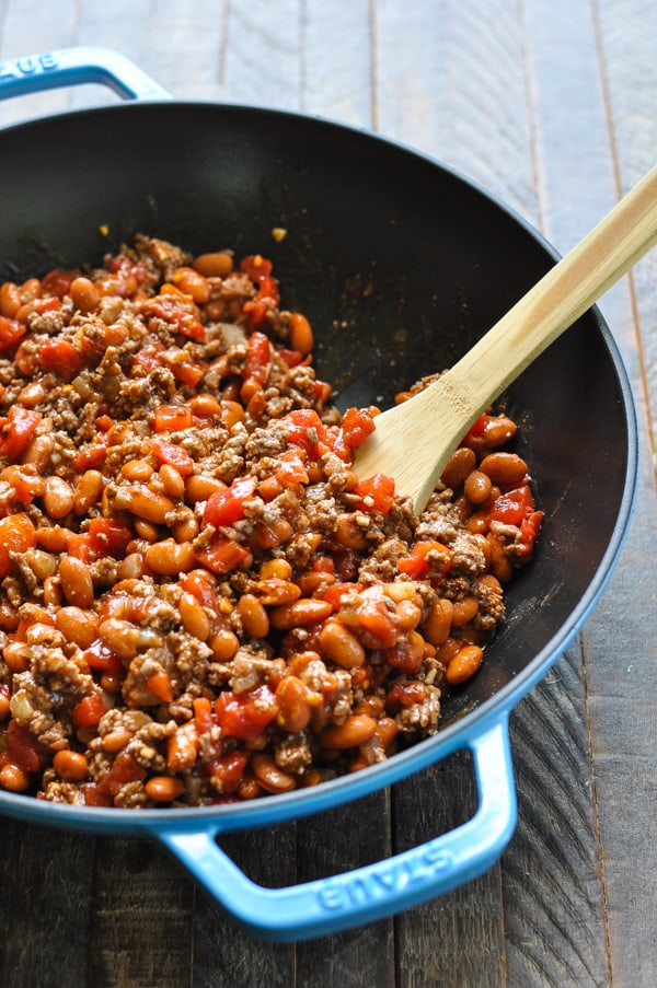 Chili filling for Frito Pie in a skillet