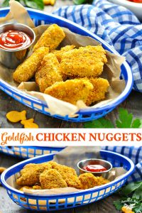 Long collage of homemade chicken nuggets recipe