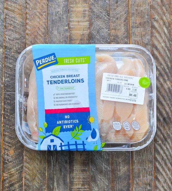 Package of chicken tenderloins