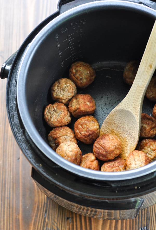 Browning meatballs in an Instant Pot