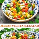 Long collage of marinated vegetable salad