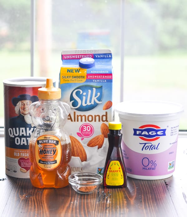 Ingredients for peach overnight oatmeal