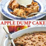 Long collage of apple dump cake with fresh apples