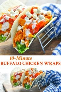 Long collage of 10 minute easy buffalo chicken wraps recipe