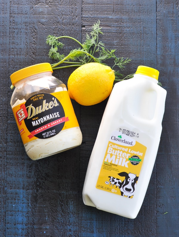 Overhead shot of ingredients for buttermilk dressing