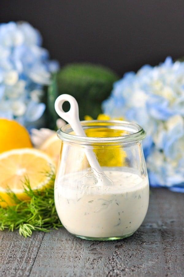 Jar of healthy buttermilk dressing