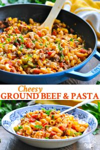 Long collage of cheesy ground beef pasta