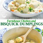 Long collage of Farmhouse Chicken and Bisquick Dumplings