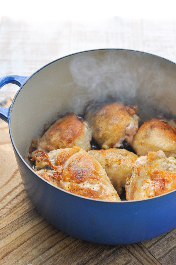 Browning chicken in Dutch oven