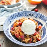 Close up front shot of bowl of Cranberry Apple Crisp