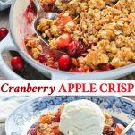 Long collage of easy cranberry apple crisp recipe