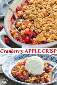 Long collage of easy cranberry apple crisp recipe