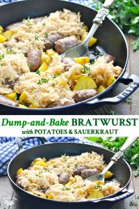 Long collage of Bratwurst recipe with potatoes and sauerkraut