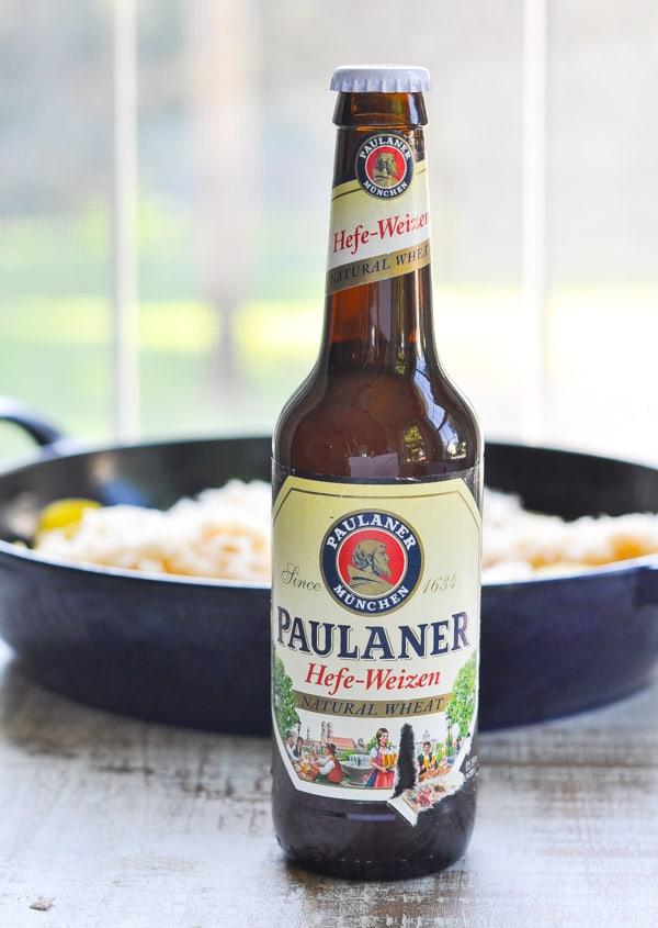 Bottle of German beer for beer brats recipe