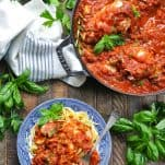 Overhead shot of chicken cacciatore recipe in a pan and in a serving bowl with pasta