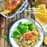 Long overhead shot of chicken wild rice casserole with text overlay