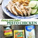 Long collage of Pesto Chicken for the oven or Crock Pot