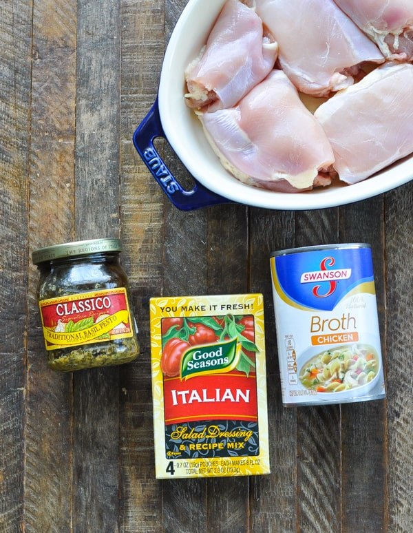 Ingredients for pesto chicken on table