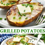 Long collage of Grilled Potatoes