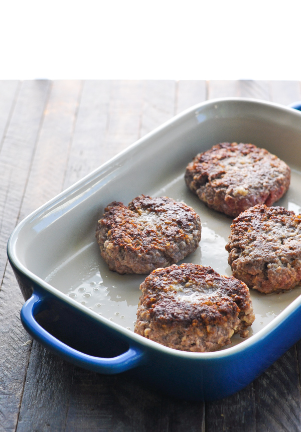 Salisbury steak patties in a baking dish