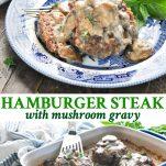 Long collage of Hamburger Steak