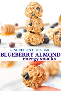 Long collage of No Bake Blueberry Almond Energy Snacks