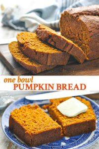 Long collage of easy pumpkin bread recipe