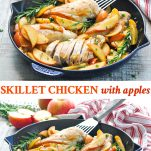 Long collage of a skillet chicken recipe with apples and onions