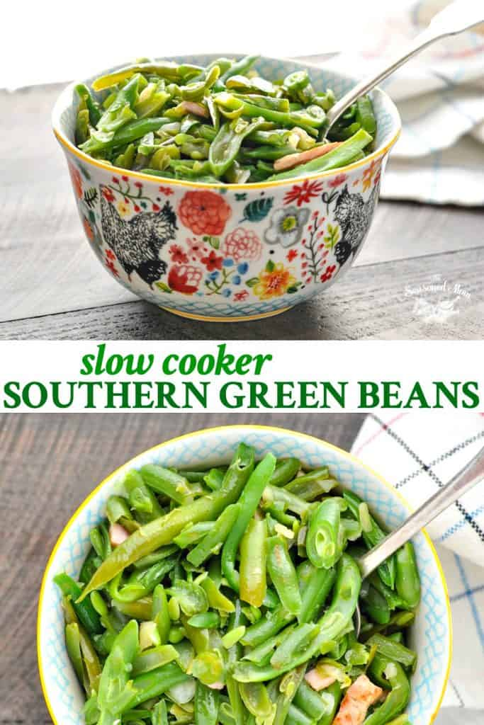 Long collage of Slow Cooker Southern Green Beans recipe