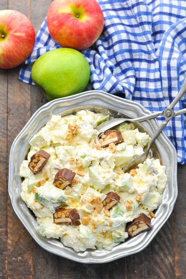 Long overhead shot of a bowl of Apple Snickers Salad