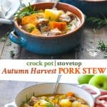 Long collage of Pork Stew recipe for the slow cooker or Dutch oven