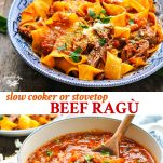 Long collage image of beef ragu recipe for the slow cooker or stovetop