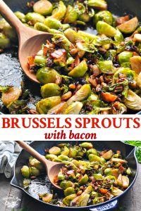 Long collage of Roasted Brussels Sprouts with bacon