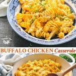 Long collage image of buffalo chicken casserole