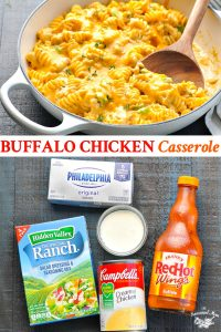 Long collage image of Buffalo Chicken Casserole recipe
