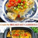 Long collage of Crock Pot Breakfast Casserole