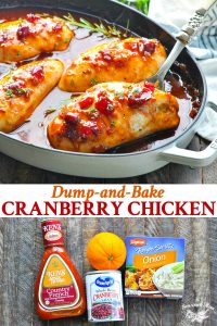 Long collage image of Dump and Bake Cranberry Chicken