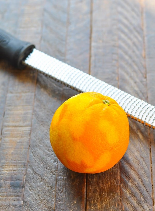 Orange with microplane for zest