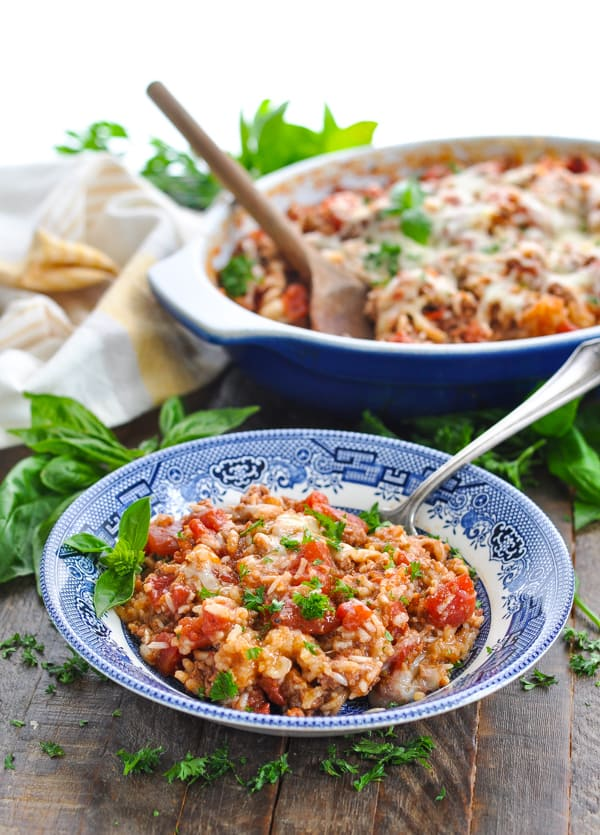 Front shot of a bowl of ground beef casserole with rice