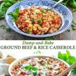 Long collage of Ground Beef Casserole with rice