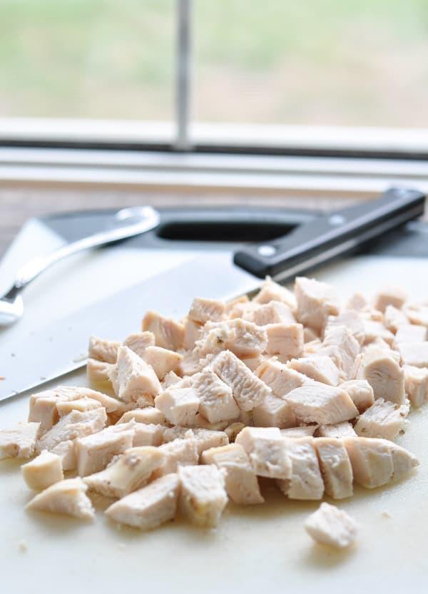 Diced chicken breast for easy chicken pot pie recipe