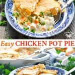 Long collage of easy chicken pot pie recipe