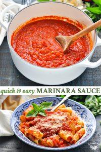 Long collage image of easy Marinara Sauce Recipe