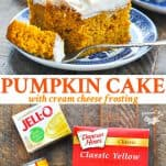 Long collage of Easy Pumpkin Cake recipe with cream cheese frosting